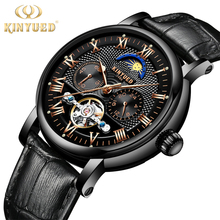 KINYUED Moon Phase Mens Automatic Mechanical Watches Waterproof Skeleton Tourbillon Watch Men Black Sports Reloj Hombre Dropship kinyued creative automatic men watches 2018 luxury brand moon phase mens mechanical watch skeleton rose gold horloges mannen