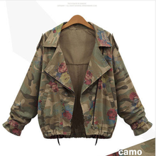 Women Jacket Coat Army Green Floral Bomber Jacket Patched Rivet Design Loose Flight Jackets Casual Coat Punk Outwear Capa Woman