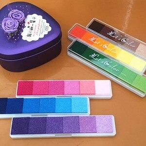 6colors/set Long Inkpad Craft Oil Based Diy Ink Pads for Rubber Stamps Scrapbook Fingerprint Stamp Pad Kids Art Supply