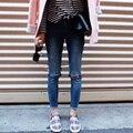 Design da marca das mulheres de Jeans ocasional rasgado Jeans Skinny lápis de bolso do Vintage Plus Size calças para mulheres