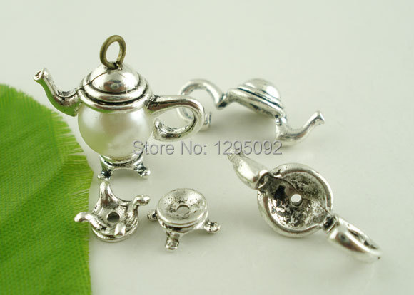 10Sets Beads Caps Teapot Silver Tone Wholesale DIY Jewelry Making Charms Findings Component 21x9mm