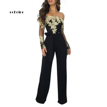 Echoine Women Jumpsuit Sexy Appliques Slash-Neck Lace Long Sleeve Backless Mesh Up Straight Pants Party Rompers Outfit
