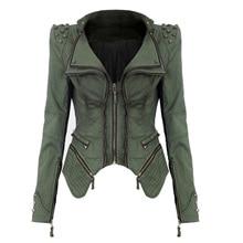 Women Denim Jacket Punk Style Rivet Studded Lapel Coat