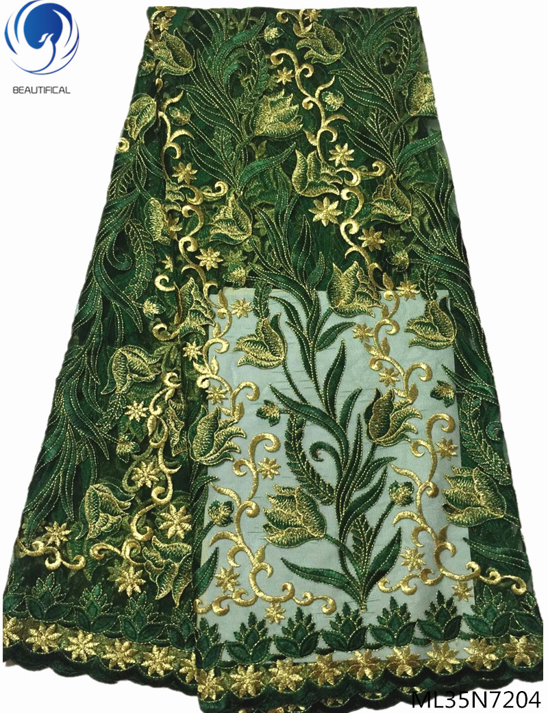 BEAUTIFICAL nigerian lace fabrics african lace fabrics high quality green and gold embroidered lace fabric 5 yards/lot ML35N72BEAUTIFICAL nigerian lace fabrics african lace fabrics high quality green and gold embroidered lace fabric 5 yards/lot ML35N72