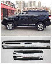 цена на 4* Black + Chrome Side Door Body Molding Cover For Toyota Prado FJ150 2010-2018