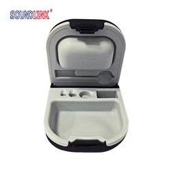 Caixa de armazenamento dura do caso da prótese auditiva com suporte da bateria e entalhe da escova da limpeza
