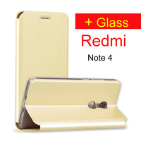 Redmi Note 4 Case Flip Leather Xiaomi Redmi Note 4 Pro Glass Screen Protector Film Mofi