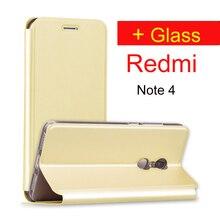 Xiaomi Redmi Note 4 Чехол закаленное стекло 64 ГБ Redmi note4 откидная крышка кожаный чехол xiomi Redmi Note 4 Pro премьер Redmi Note 4 Чехол