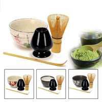 4  in 1 Tea Ceremony Matcha Ceramic Tea Bowl Bamboo Tea Scoop Matcha Whisk Japanese Teaware Tea Tool 4 Style Matcha Bowl Set