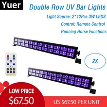 2XLot UV Color LED Bar Lights 24X3W Mini LED Stage Lighting Effect Party Club Disco Light For Home Christmas Holiday Decorations