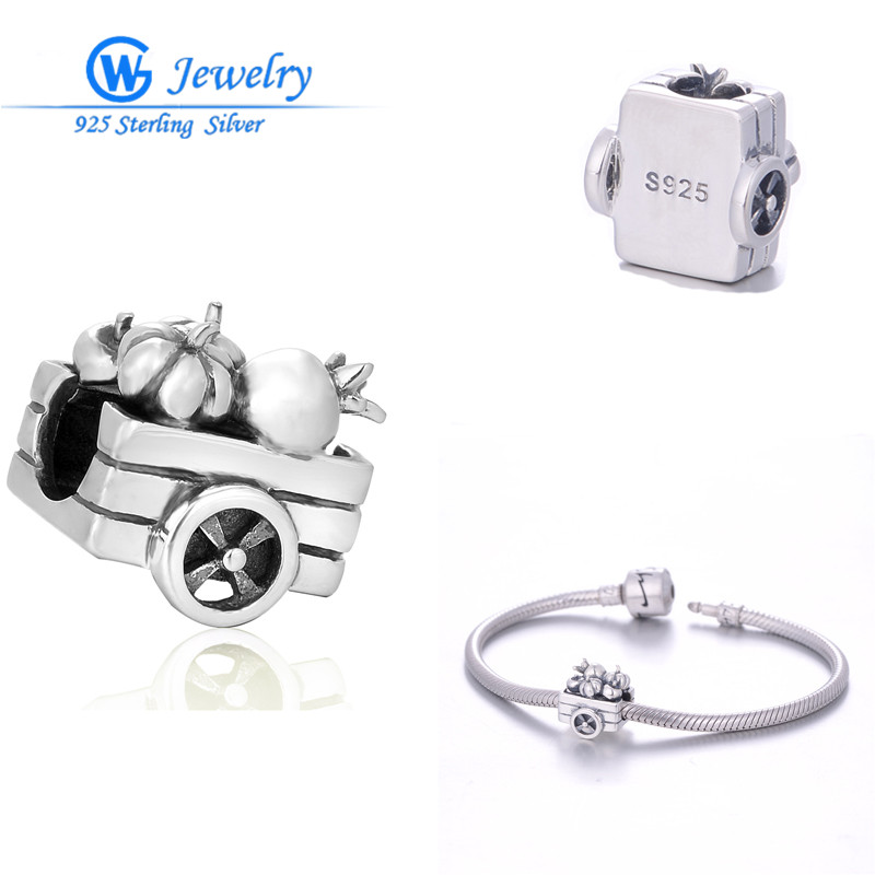 Halloween Sterling Men Vintage Jewelry Pumpkin Car Charm 925 Sterling Silver European Charms missangas GW  Jewelry T170H30