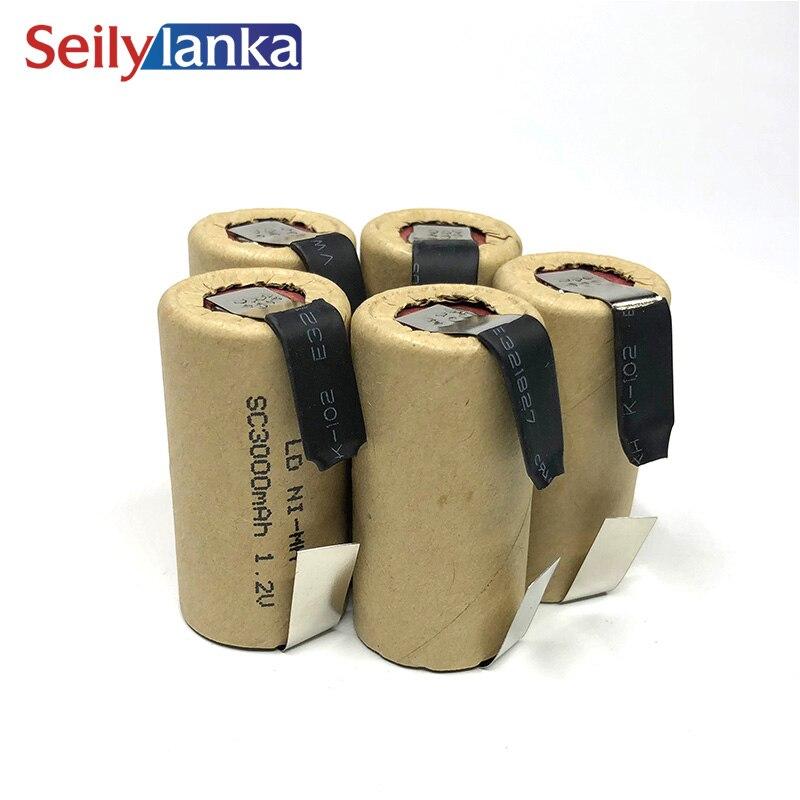 Avec la cellule de puissance d'onglet de soudure CD Ni MH batterie rechargeable d'outil électrique taux de décharge de SC 3000mAh