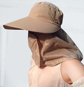 Новое поступление открытый широкие Полями Летняя Съемная Солнцезащитная шляпа для женщин лицо шеи крышка откидной козырек УФ шапки 5 цветов - Цвет: Khaki