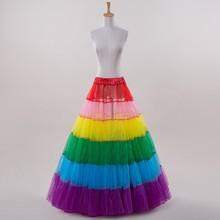 2017 anágua Acessórios Do Casamento Anágua Rainbow Colorido Plissado Petticoat Para O vestido de Casamento do Dia Das Bruxas Sexy Deslizamento(China (Mainland))