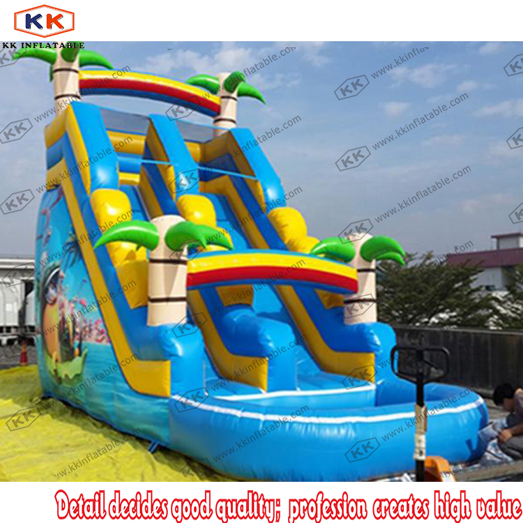 homemade slide blow up inflatable kids water slide play center splash pool funchina - Blow Up Water Slides