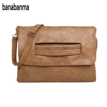 Banabanma mujeres PU cuero alta capacidad bolso Retro del embrague del  sobre del bolso de hombro de ocio elegante cartera 2018 moda ZK30 6e03e503653aa