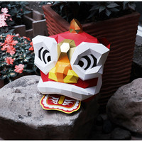 Halloween Dancing Lion Head Mask DIY Masks Party Masquerade Cosplay Mascara Traditional Chinese Style Souvenir Stage Prop Masque