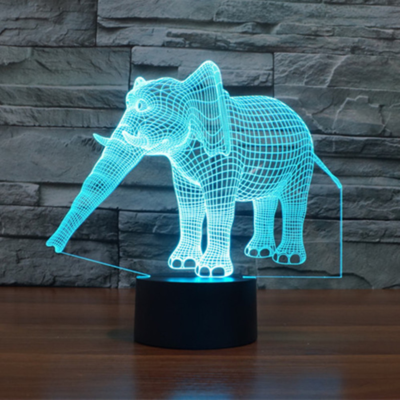 AUCD LED 7 Color Elephant Night Light USB Touch Swtich 2017 Valentine Gift Birthday Holiday Wedding Bedroom Ambient Lights -273