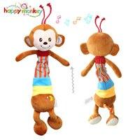 Happy Monkey Kawaii Animal Musical Pull String Bell Baby Rattle Crib Stroller Mobiles Pram Hanging Monkey Puppy Soft Plush Doll
