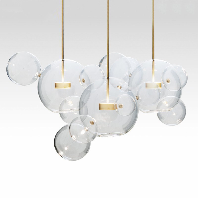 KINLAMS Creative Clear Glass Bubble Ball Post Modern Led Pendant Lamp for dining room living room bar LED Glass Hang Lamp vitrust modern pendant lamps nordic led glass crystal bubble lighting hanglamp creative dinning living room bar hanging lamp