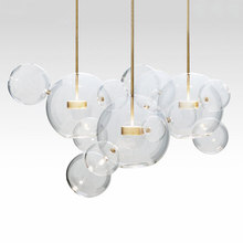 KINLAMS Creative Clear Glass Bubble Ball Post Modern Led Pendant Lamp for dining room living room bar LED Glass Hang Lamp modern simple staircase pendant lamp led bubble column living room long pendant lamps rotating villa suction crystal pillar post