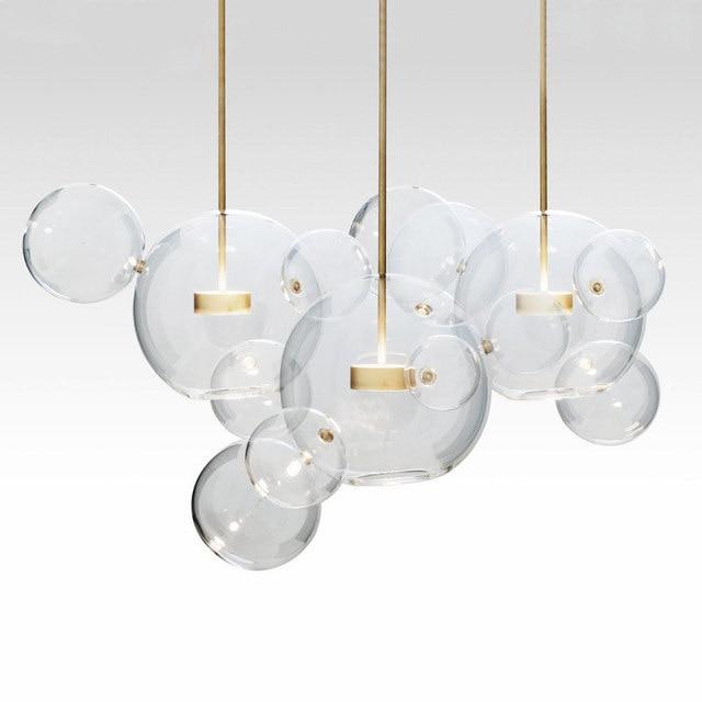 KINLAMS Creative Clear Glass Bubble Ball Post Modern Led Pendant Lamp for dining room living room bar LED Glass Hang Lamp
