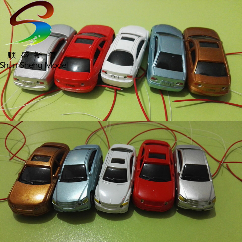 50Pcs High Quility Flaring Light Painted Model Cars W/ Wires Scale OO (1 To 75) EC75-3