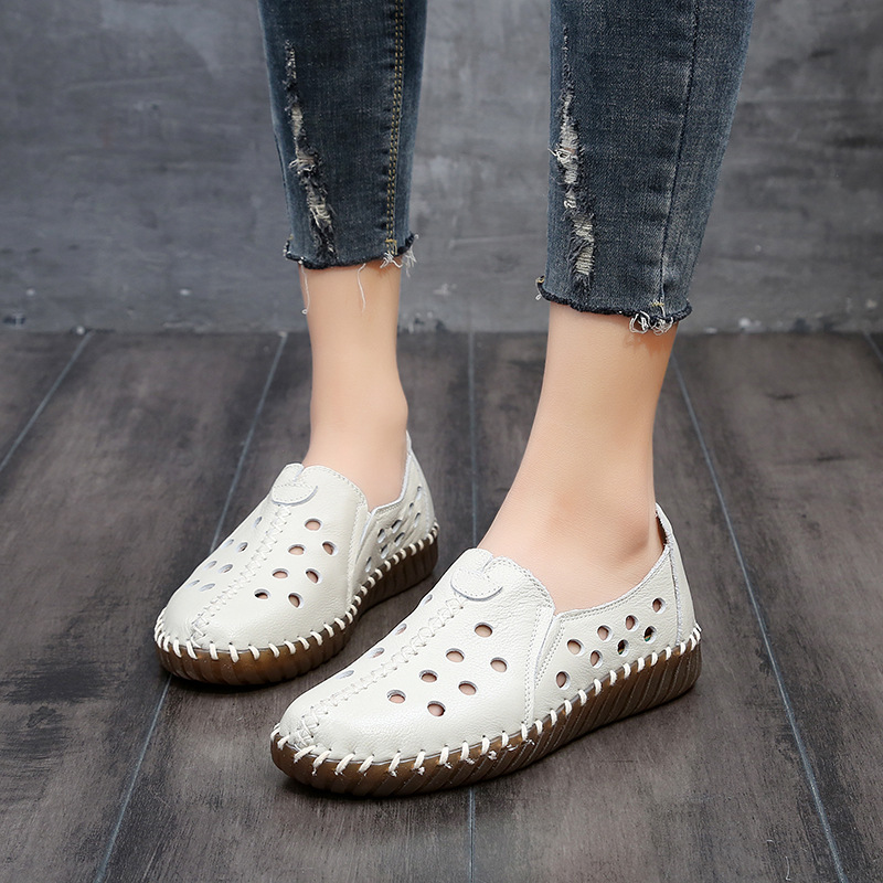 ded9f94c1dc DONGNANFENG Women Female Old Mother Ladies Shoes Flats loafers Cow Genuine  Leather Slip On Casual Hollow Out Size 35 41 ASN 202-in Women s Flats from  Shoes ...