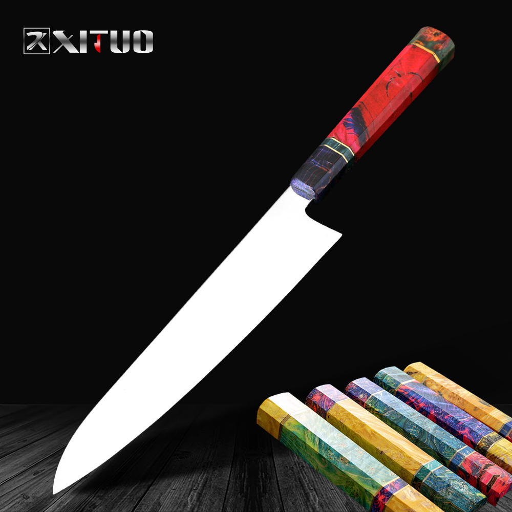 XITUO Japanese Kitchen Chef Knives vg10 Stainles Steel Core Blade Sharp 9 inch Vegetables Fruit Turkey Beef Slicing Knife Tools