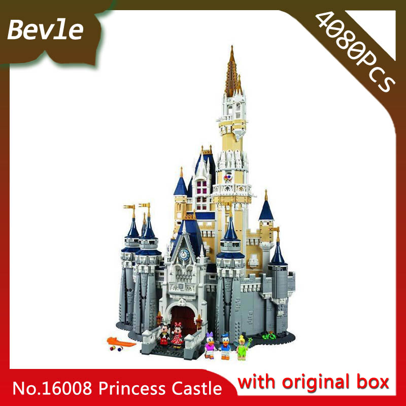 Bevle Store LEPIN 16008 4080Pcs with original box Movie Series Cinderella Princess Building Blocks For Children Toys 71040 new lepin 16008 cinderella princess castle city model building block kid educational toys for children gift compatible 71040