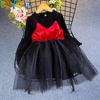 Sodawn 2017 Autumn New Children Clothing Girl Clothing Set Fashion Hood Sleeve Top+Harness Dress Kids Clothing