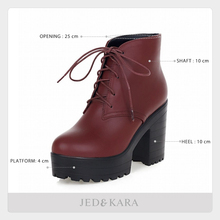 Plus size 43 Spring Autumn Boots Women Shoes Warm Fur Addable Ankle Boots Martin Boots Lace up High Heels Platform Boots Women