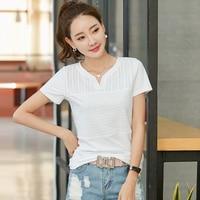 Camiseta mujer tシャツ女性の夏2018韓国服刺繍vネックコットンtシャツカジュアルレディーストップスtシャツファム