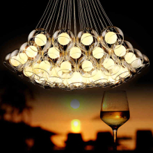 Simple modern art bubble ball glass Chandelier lighting  living room stylish personality Restaurant LED