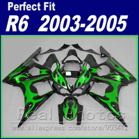 Free custom motorcycle parts for YAMAHA R6 fairing kit 2003 2004 2005 green flame black Fit YZF R6 fairings 03 04 05