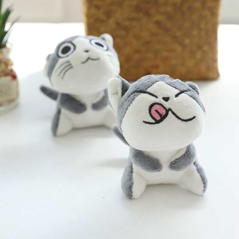 Keychain Bag Jewelry Filled Plush Cartoon Expression Animal Cute Mini Cheese Kitten Plush Stuffed Children's Toy Keychain-TOY163