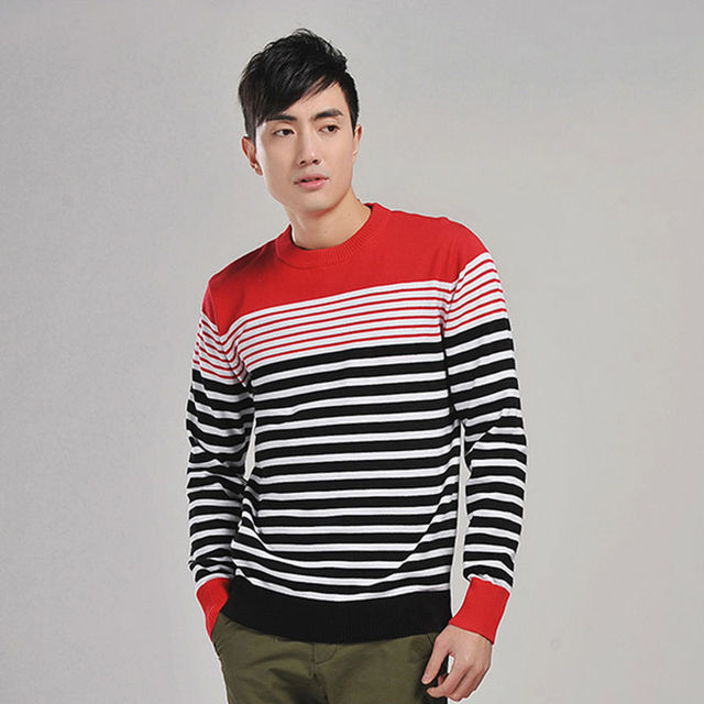 18a8ec90747 Red White Black Three Color Stripe Sweaters Men Long Sleeve Pullover Homme Knitted  Sweaters Plus Size Sweaters Leisure Fashion