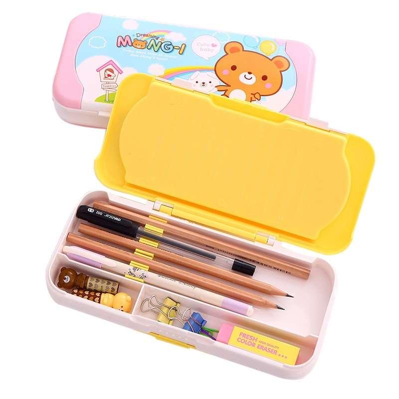 Effective 95585 cartoon multifunctional stationery box children three layer plastic pencil case pencil case students Пенал