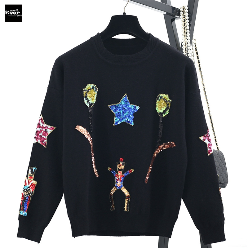 2018 Fall Winter Fashion Sweater Shinny Sequins Stars Warrior Pullovers Knitted Sweaters Pullover Runway Designer Tops Jumper