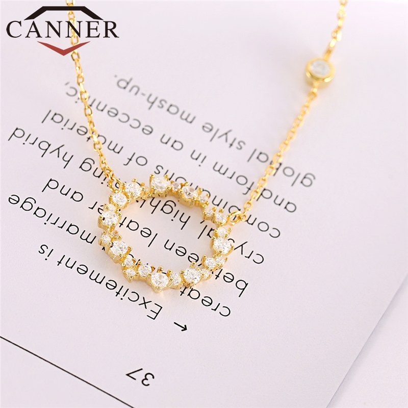 CANNER Real Pure 925 Sterling Silver Chain Necklace Round Zircon Necklace Gold Color Clavicle Choker For Woman FO