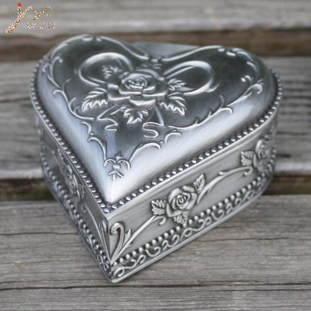 Us 11 39 40 Off Retro Pewter Plated Heart Shape Flower Engraved Metal Jewelry Box Zinc Alloy Trinket Gift Box In Bottles Jars Boxes From Home
