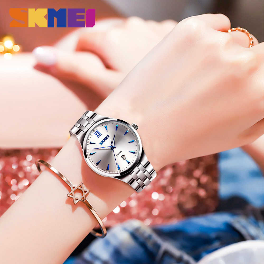 SKMEI Women's Watch Clock Men's Watch Top Brand Luxury Quartz Ladies Wrist Watch Fashion Water Resistant relogio feminino 9071