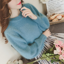 Фотография 2017 new autumn and winter sweet Lantern Sleeve sweater mink cashmere turtleneck sweater loose thin tide