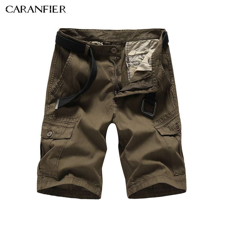 CARANFIER New 2018 summer casual shorts men solid color loose tooling shorts cotton pockets khaki color high quality Straight