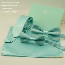 Fashion Mint Green Bow Tie For Men Slim Tie Necktie Hankerch