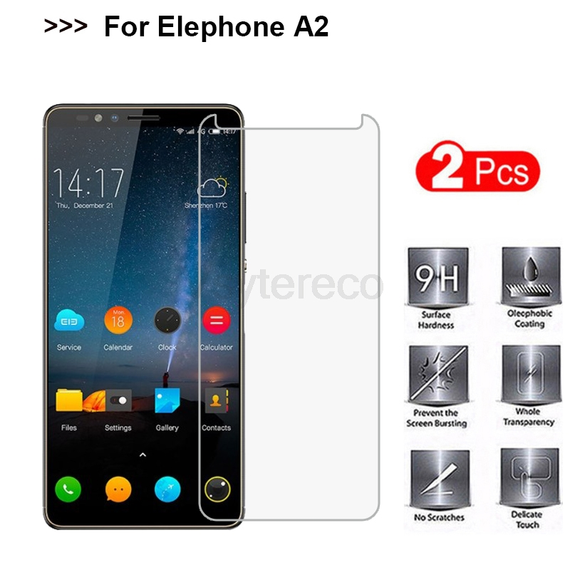 """2PCS Tempered Glass For Elephone A2 Pro Screen Protector 9H Toughened Protective Phone Film For Elephone A2 5.47"""" Case Glass"""