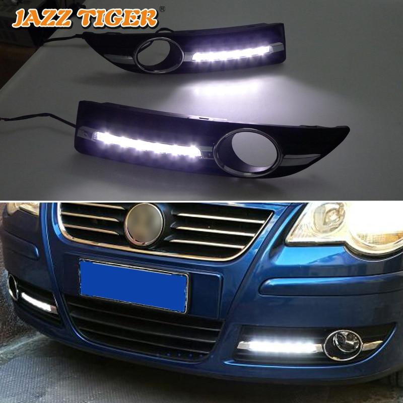 JAZZ TIGER 2PCS Super Brightness DRL lampa 12V denní světlo LED denní světlo pro Volkswagen Polo 9n3 2005 - 2010