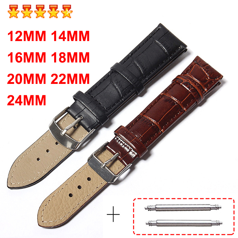 Men Watch Bands Leather Straps Bracelet Belts 24mm 22mm 20mm 18mm 16mm 14mm <font><b>12mm</b></font> New Watch Accessories High Quality PU Wristband image