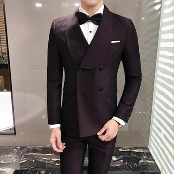 Double-breasted Slim Dinner Party Dress Host Suits Mens Casual High Quality Fashion Wedding Prom Suits (Jacket+ Pants+Vest)
