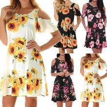 Floral Printed Summer Beach Dress Women Sexy Off Shoulder Short Bohemian Fashion Casual Womens Party Dresses Sukienki
